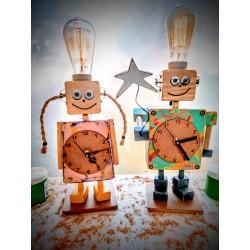 Lampara/ Velador y Reloj Artesanal