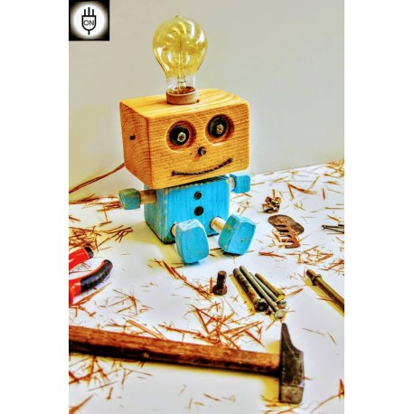 Lampara/ Velador Artesanal Bebe Robot