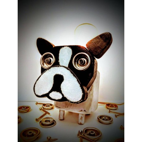Lampara/ Velador Artesanal Bulldog Frances