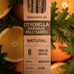 Sahumerios Artesanales Ecologicos de Citronella, Naranja y Palo Santo (Caja x 8 varillas)