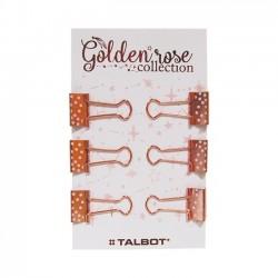 Binder Clips Golden Rose Lunares Pack x 6