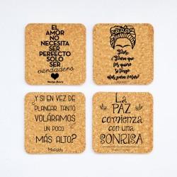 Posavasos de Corcho Cuadrados/Redondos Pack  4