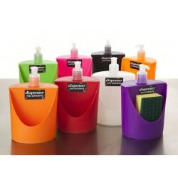 Dispenser para detergente con porta-esponja