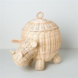 Cesto Contenedor de Rattan con Forma de Hipopótamo
