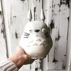 Maceta Totoro de Cerámica Hecho a Mano