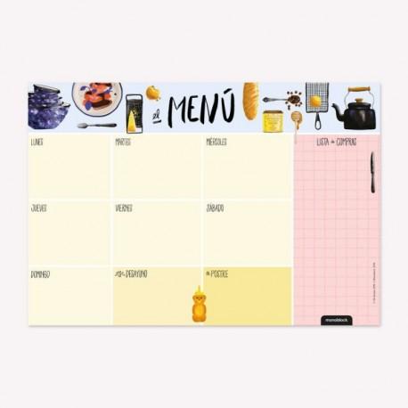 Anotador/Organizador/Planificador Imantado Semanal Menu con Diseños de Autor