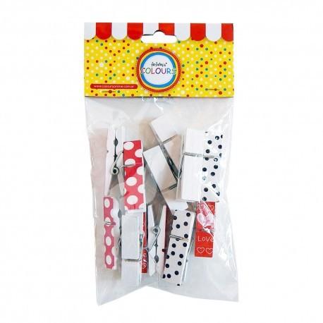Broches Mini de Madera Multicolor Pack x 36