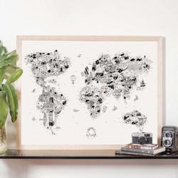 Lámina Mapamundi Curiosidades del Mundo