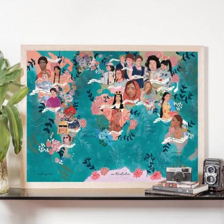 Lámina Mapamundi Mujeres Influyentes