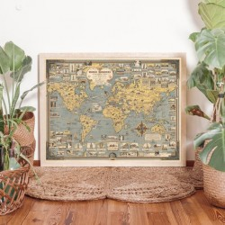 Mapamundi Maravillas del Mundo Enmarcado