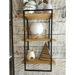 Estante rectangulo madera y metal con 3 estantes 36 x 60 cm