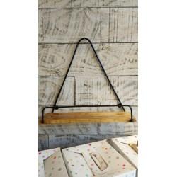 Estante triangulo con medio circulo metal y madera 40 x 38 cm