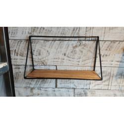 Estante Rectangular con laterales traingulo madera y metal 38 x 20 cm