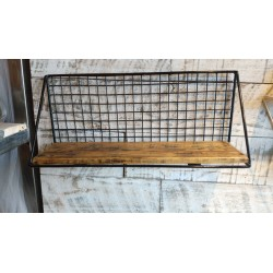 Estante Rectangular con laterales traingulo madera, metal y malla cima 52 x 21 cm