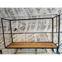 Estante Rectangular con laterales rectangulo madera y metal 38 x 22 cm
