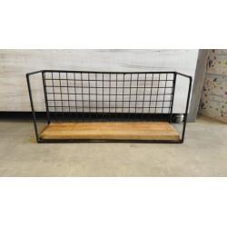 Estante Rectangular con laterales rectangulo madera, metal y malla cima 47 x 21 cm