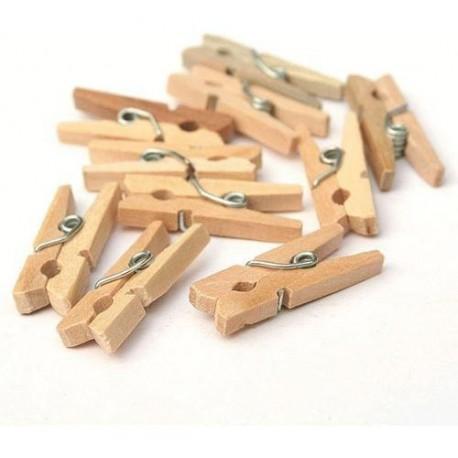 Broches mini madera x 10