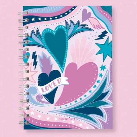 Cuaderno A4 Tapa Dura, Anillado, Cuadriculado y Rayado.