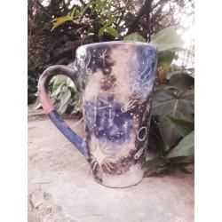 Taza Conica Alta de Ceramica Artesanal Galaxia