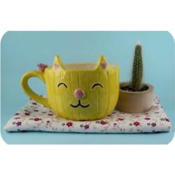 Tazón de Ceramica Artesanal Gatito Cactus
