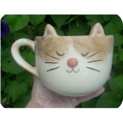 Tazón de Ceramica Artesanal Gatito Beige