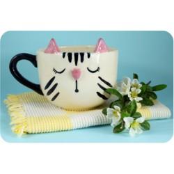 Tazón de Ceramica Artesanal Gatito Dormido