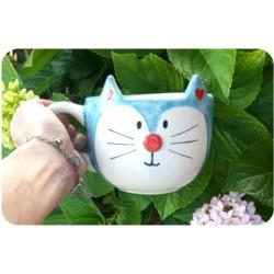 Tazón de Ceramica Artesanal Gatito Azul
