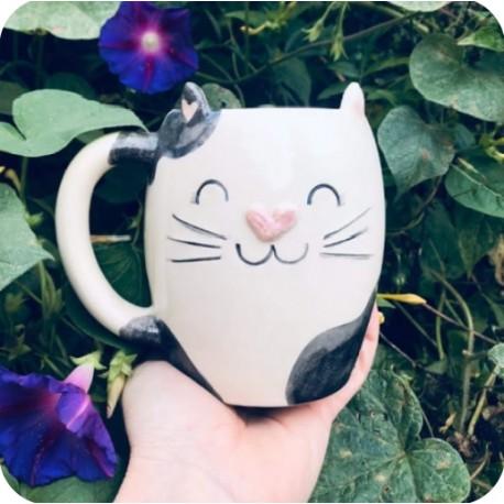 Taza Chopp de Ceramica Artesanal Gato Manchado