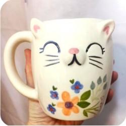 Taza Chopp de Ceramica Artesanal Gato con Flores