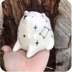 Mate de Ceramica Artesanal Animalitos Sentados Oso Polar