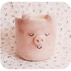 Maceta Cilíndrica de Ceramica Artesanal Cerdito