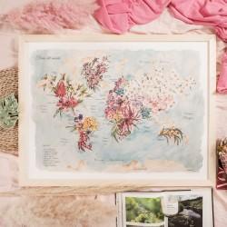 Lamina Mapamundi Flores del Mundo.