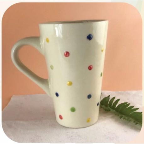 Taza Conica Alta de Ceramica Artesanal Confetti