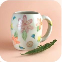 Taza Chopp de Ceramica Artesanal Flores