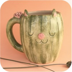 Taza Chopp de Ceramica Artesanal Gato Cactus