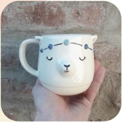 Taza Pera de Ceramica Artesanal Llama