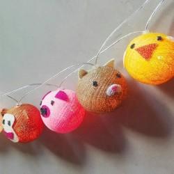 Guirnalda de Luces con Farolitos de Hilo y Animalitos